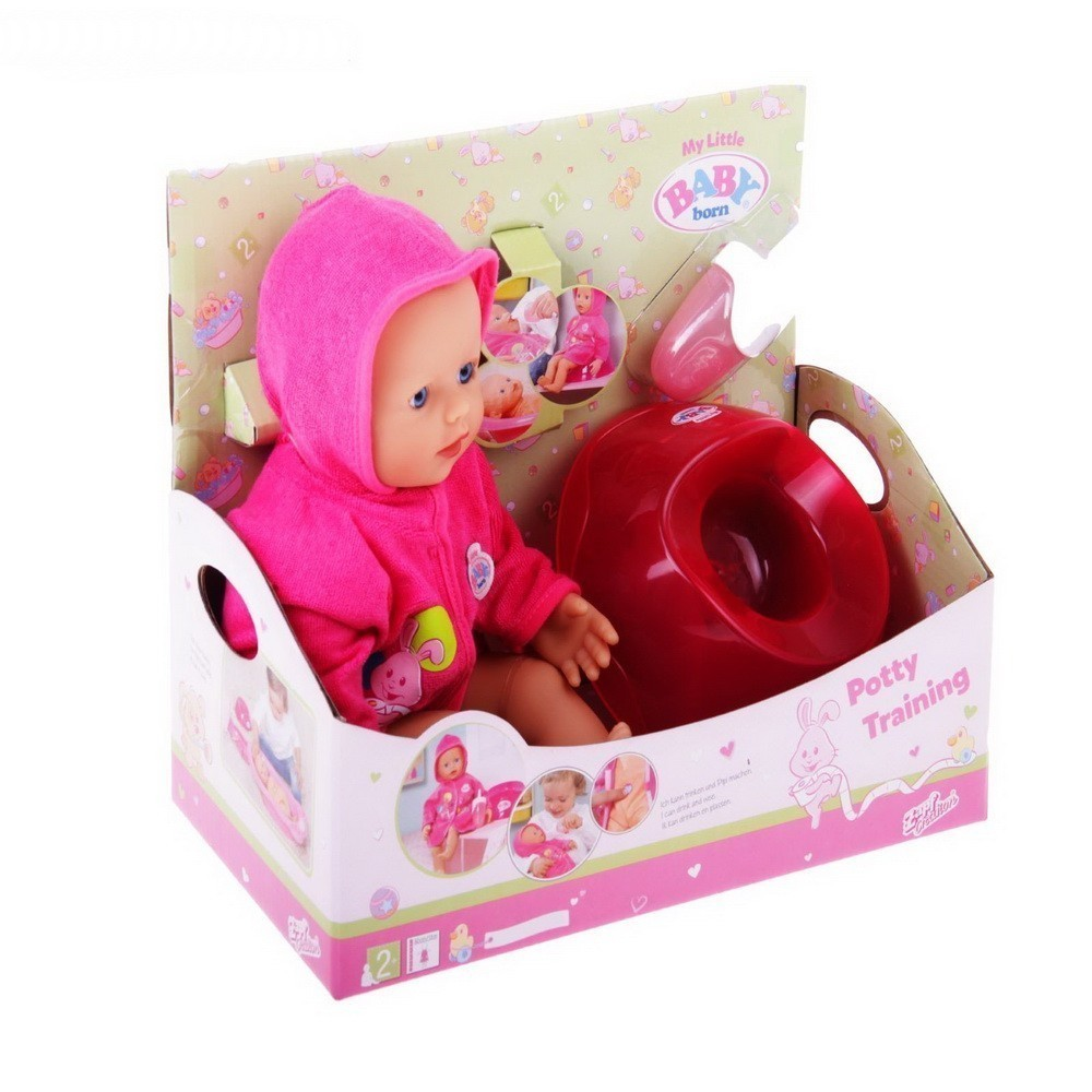 Кукла быстросохнущая Baby Born, с горшком и бутылочкой, 32 смИгрушки для девочек<br>Ваша дочь много времени проводит за играми в куклы? Девочка постоянно пеленает игрушки, кормит их и ухаживает? Подарите ей часы искренней радости, благодаря быстросохнущей кукле с горшком и бутылочкой Baby Born (32 см)!<br>