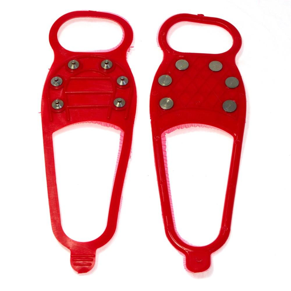 Ледоходы Стандарт 6+6 шипов, красныйНакладки на обувь Антигололед<br>Приближается зима. А вместе с ней – не только праздники и подарки, но и холода, скользкие дороги и коварные падения. Как обеспечить себе максимум комфорта на улице?  Как не провести ползимы дома в с ногой в гипсе? Вам помогут ледоходы Стандарт 6+6 шипов красного цвета. Аксессуар фиксируется на любой обуви, а главное – позволяет вам чувствовать себя уверенно даже на сплошном льду!<br>