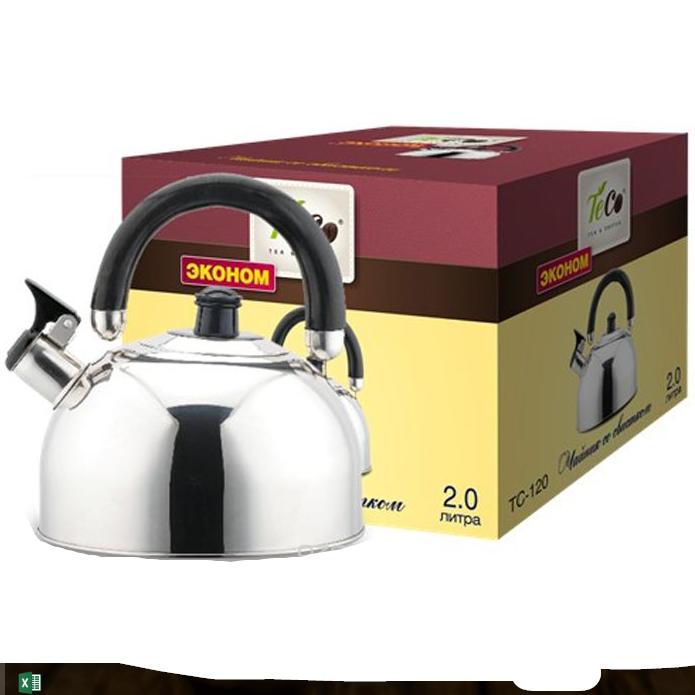 Чайник TECO 2,0 л. со свистком из нерж. сталиЧайники металлические<br>Чайник оборудован свистком для определения закипания воды и изготовлен из высококачественной нержавеющей стали. Капсульное дно распределяет тепло равномерно по всей поверхности, что обеспечивает быструю скорость закипания.<br>