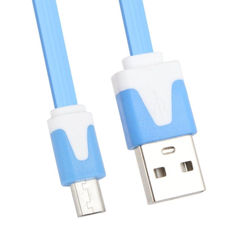 USB кабель «LP» Micro USB плоский узкий (синий/коробка)
