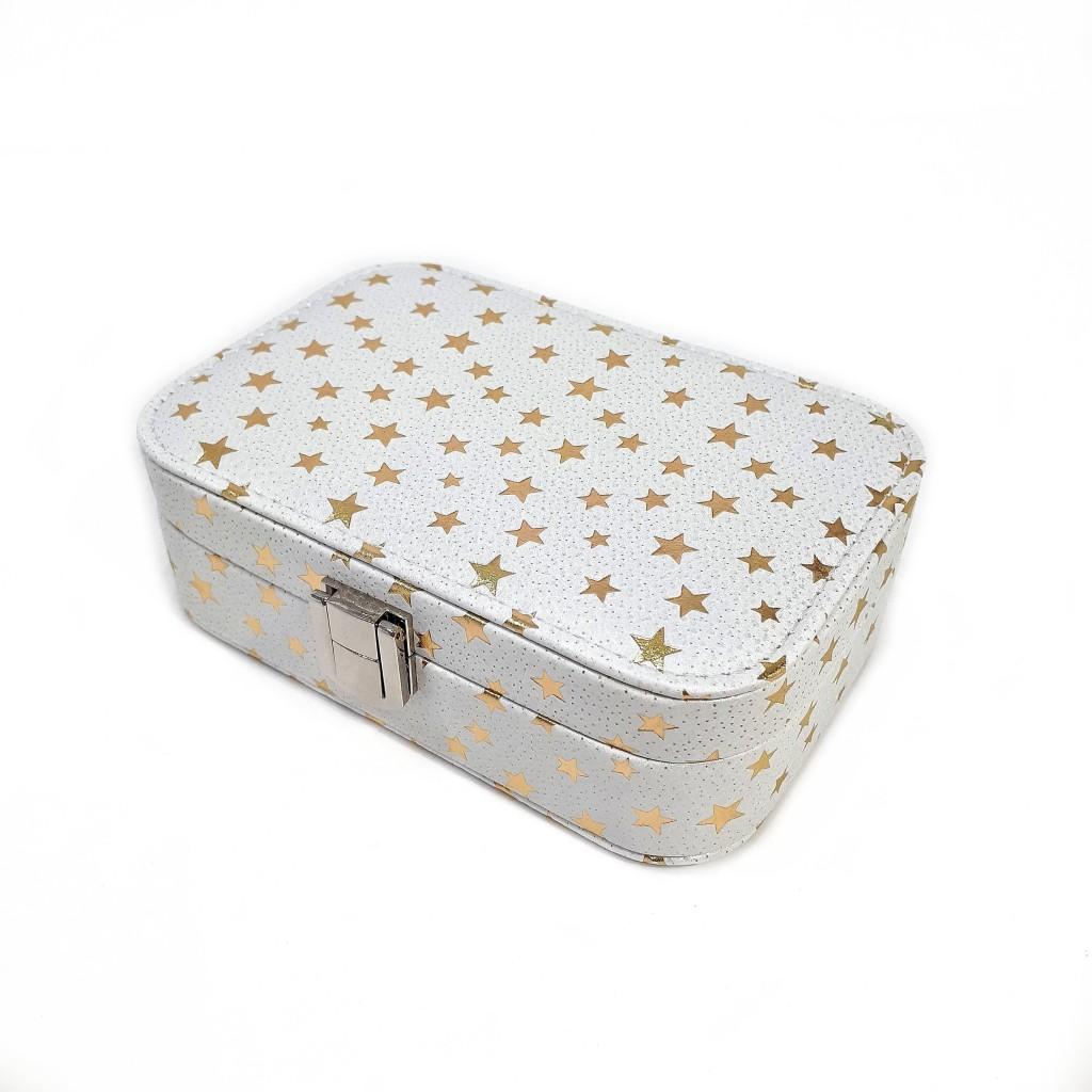 Шкатулка для ювелирных изделий Звёздочки, 15х10х6 см, белый фото