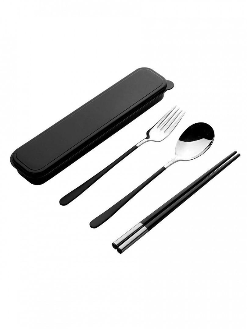 Набор столовый в пенале - Премиум - ложка, вилка, палочки, черный