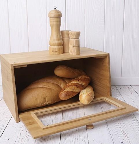 Хлебница 182 Bread - Bravo, бамбук с прозрачной дверцей