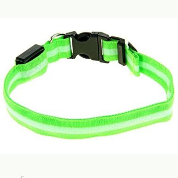 Светящийся ошейник - 45-50 см - зеленыйСветящиеся ошейники<br>Если Вас немного пугают прогулки в ночное время суток с собакой, то настоятельно рекомендуем Вам приобрести светящийся ошейник со светоотражателем. Теперь Вы сможете видеть все, что делать питомец на улице и даже спокойно отпустить его побегать!<br>