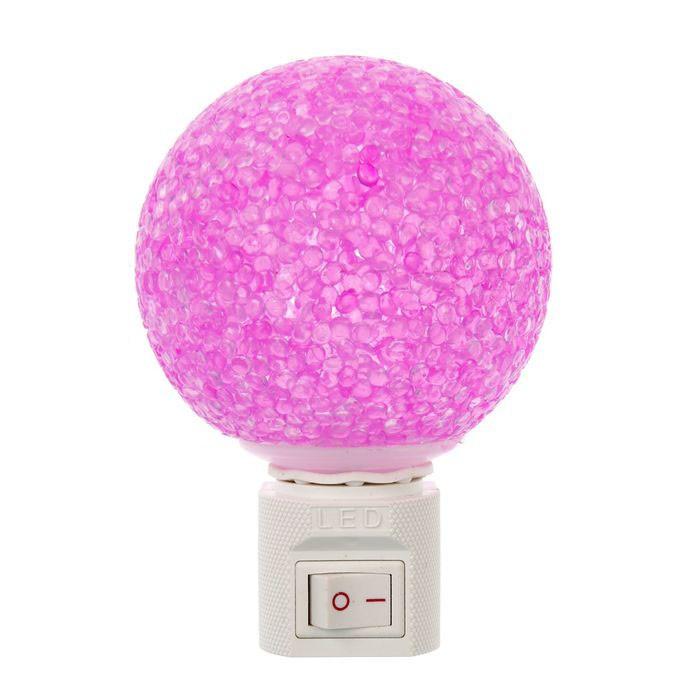 Ночник Шарик с выключателем - 4 диода, цвет микс