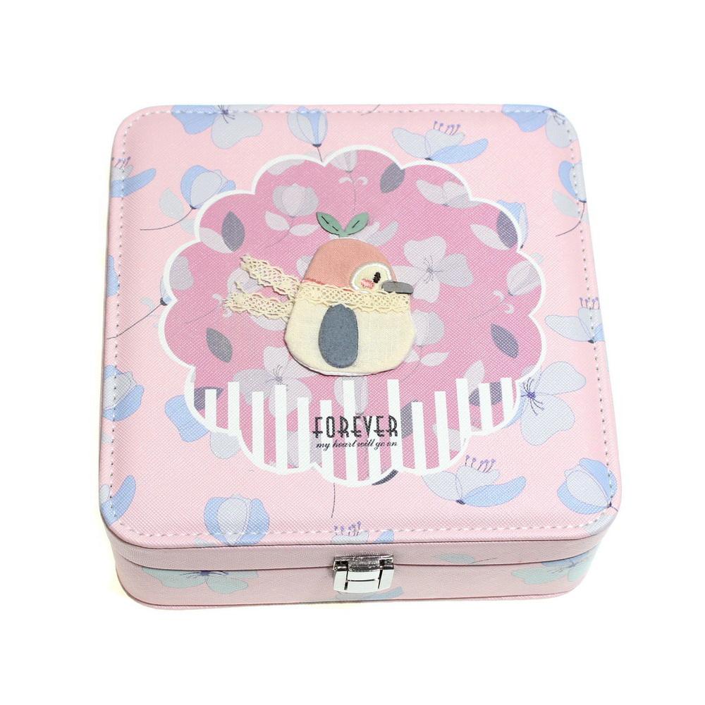 Шкатулка для ювелирных изделий Сундучок с аппликацией, 18х7х18 см, розовый пингвин