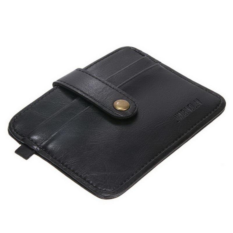 Тонкий кошелек на кнопке, экокожа — черный