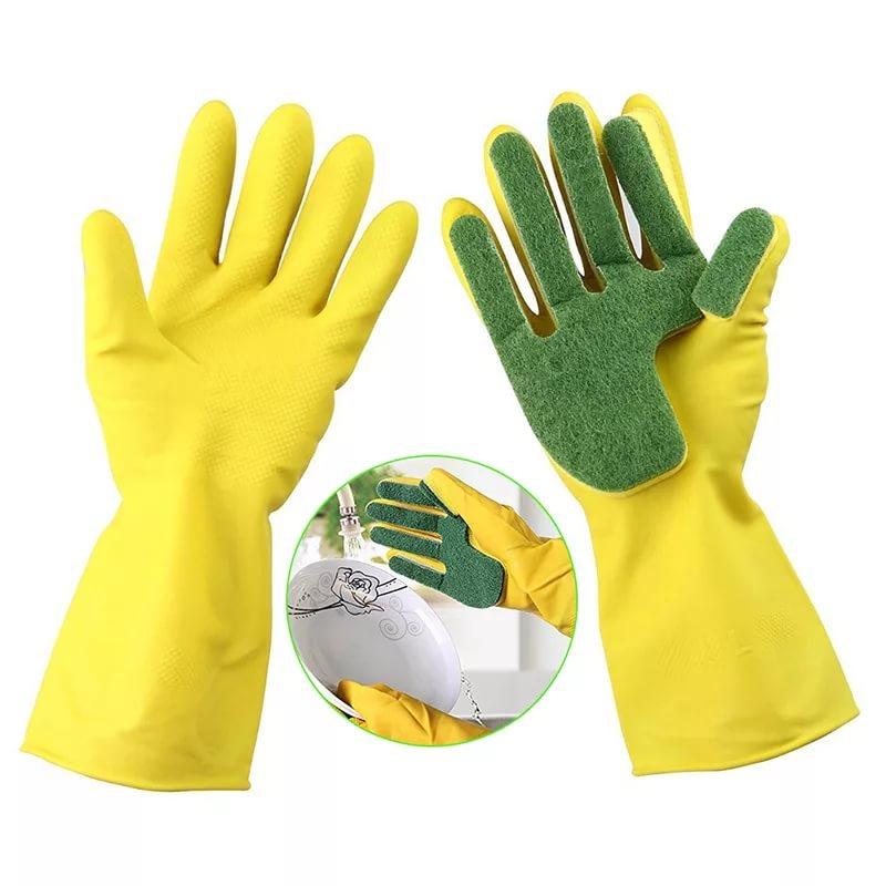 Перчатки с губкой для мытья посуды от MELEON