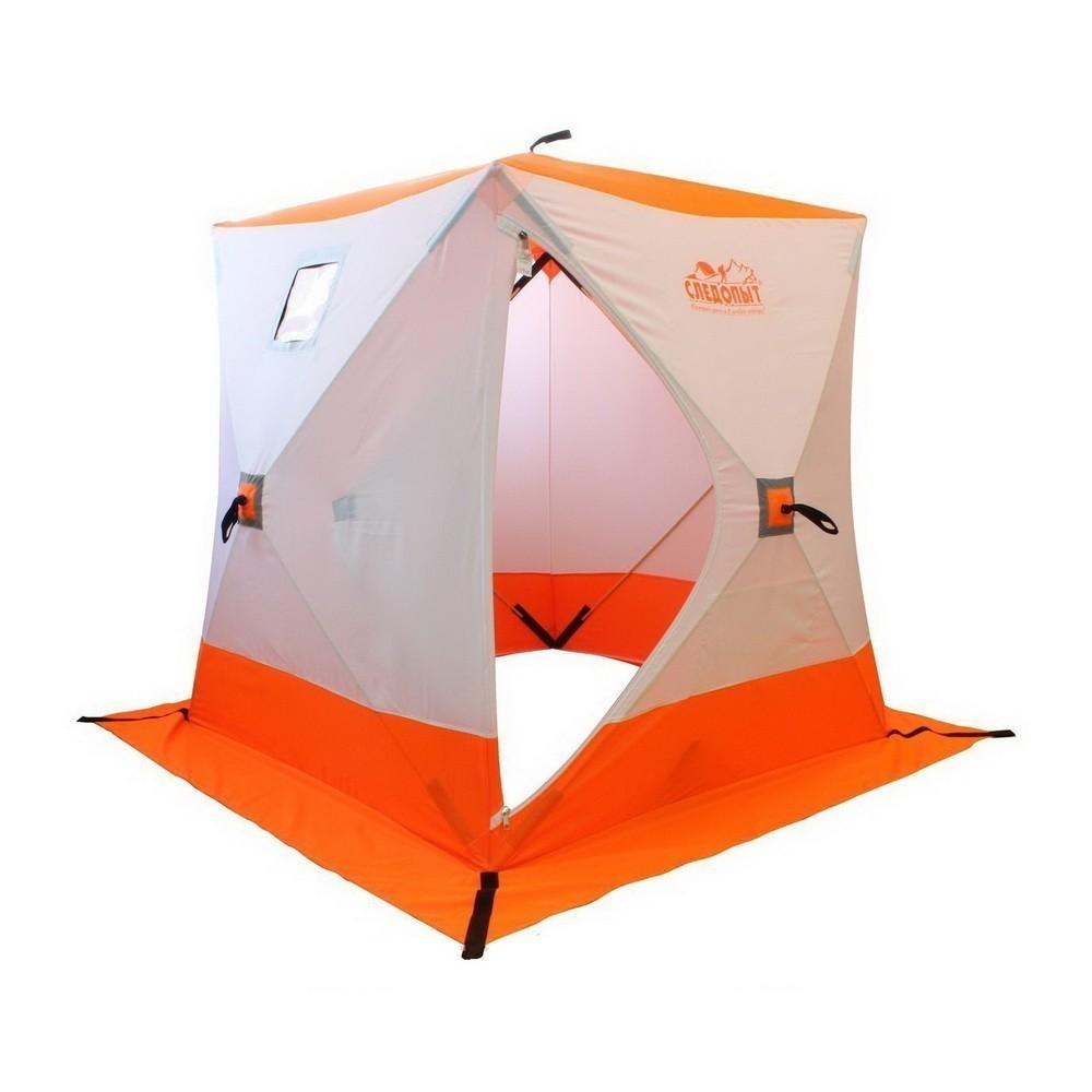 Палатка зимняя куб Следопыт 3-местная, бело-оранжевая от MELEON