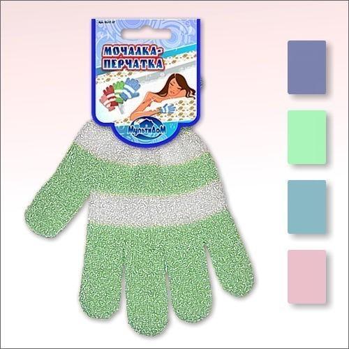 Мочалка-перчатка ПолосатикМассажные мочалки<br>Мочалка-перчатка станет незаменимым аксессуаром ванной комнаты. При изготовлении мочалки используется синтетические материалы. Применение мочалки эффективно воздействует на организм человека, оказывает массажный эффект.<br>
