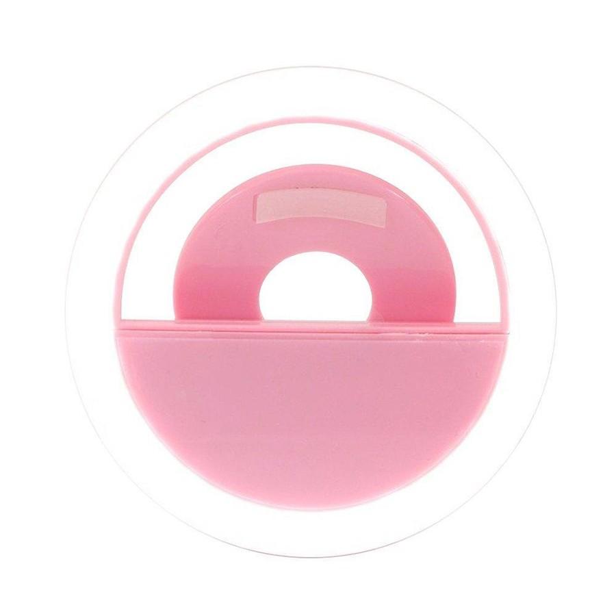 Кольцо для селфи Selfie Ring Light на батарейке, розовое