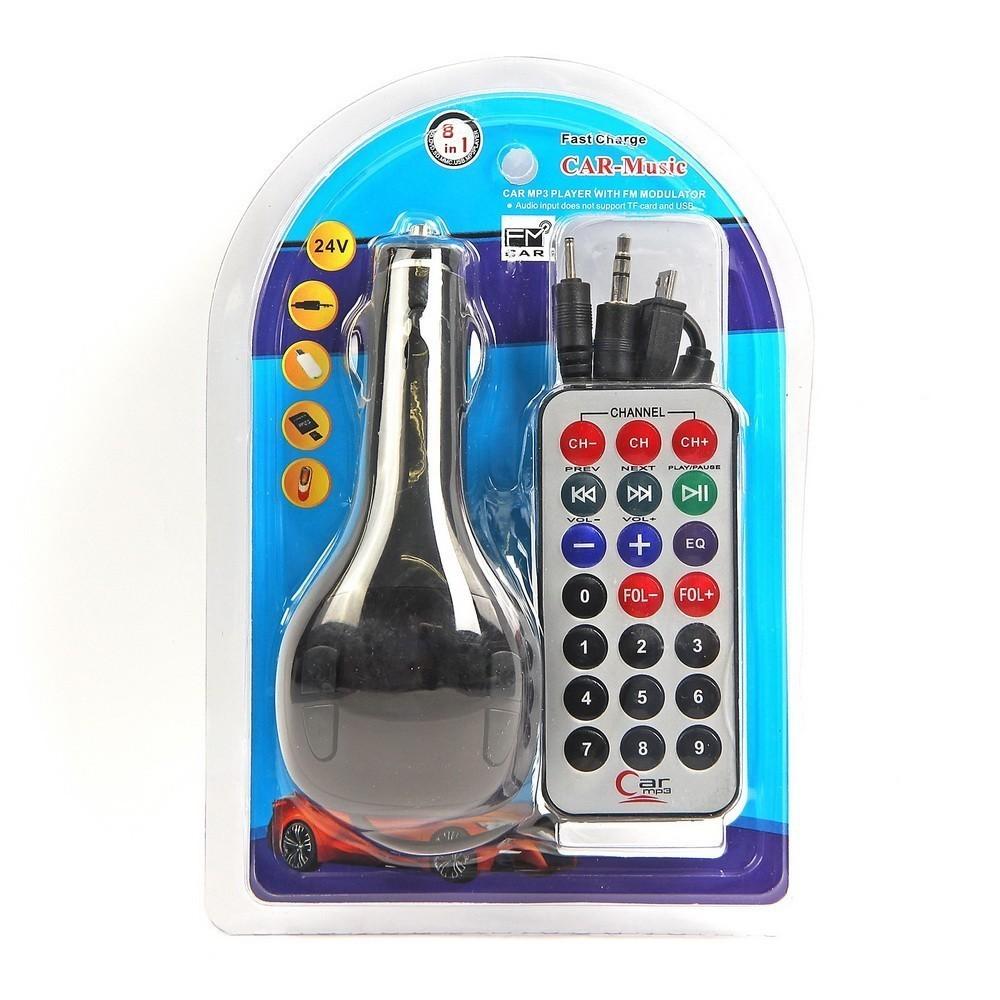 FM — трансмиттер, 12 В, USB/Mp3/WMA/MicroSD, черный
