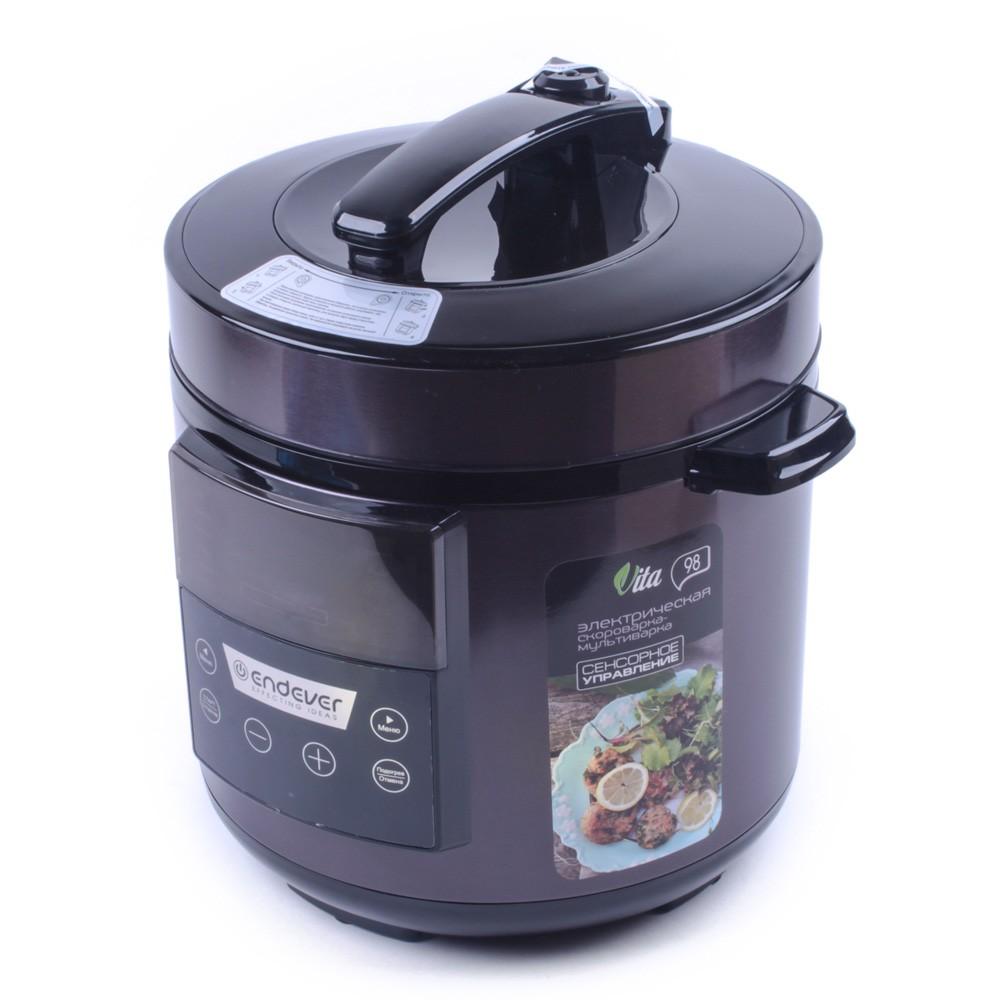 Скороварка-мультиварка электрическая Endever Vita-98Мультиварки<br>Скороварка-мультиварка Endever Vita-98 – современная многофункциональная кухонная техника с оптимальным количеством программ – 12, которые были разработаны и внедрены с учетом последних научных разработок в области кухонной техники, а также потребностей и пожеланий самого потребителя. Используя программы, Вы сможете готовить любые блюда – вкусно и полезно! Благодаря удобному управлению и оптимальному набору современных функций, приготовление пищи превратится из обременительной обязанности в настоящее удовольствие!<br>