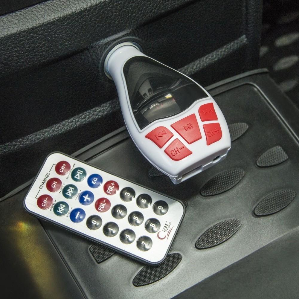FM - трансмиттер, 12 В, USB/Mp3/WMA/AUX/MicroSD, цвет микс