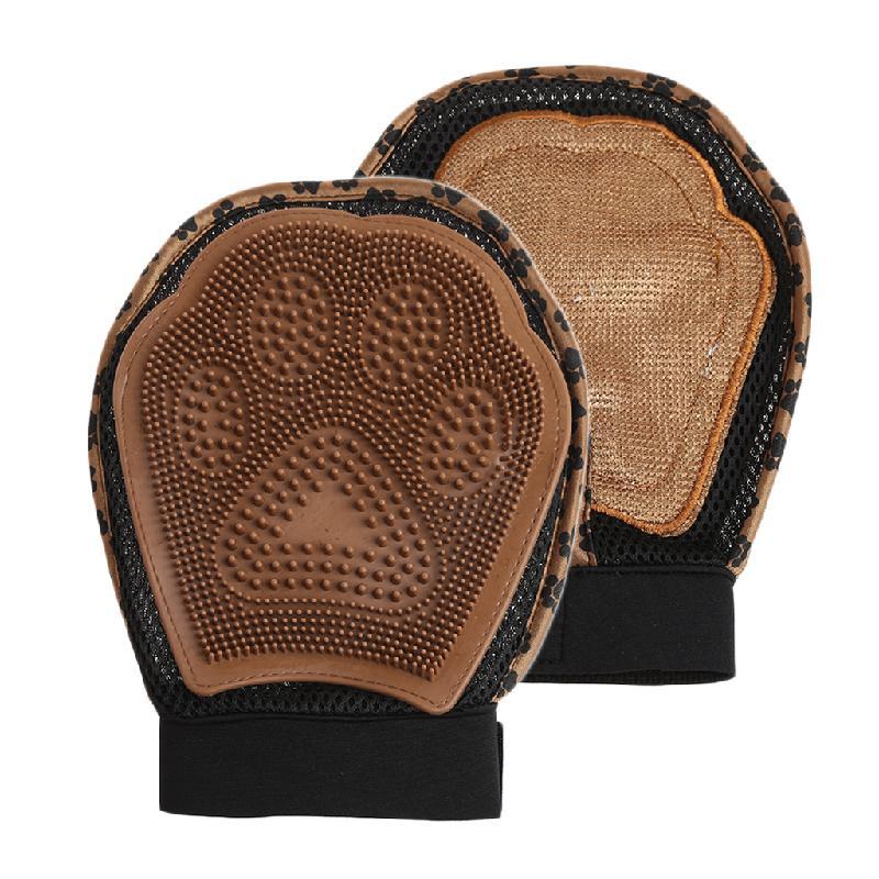 Варежка для груминга 3 в 1 Grooming Glove Лапка, коричневый