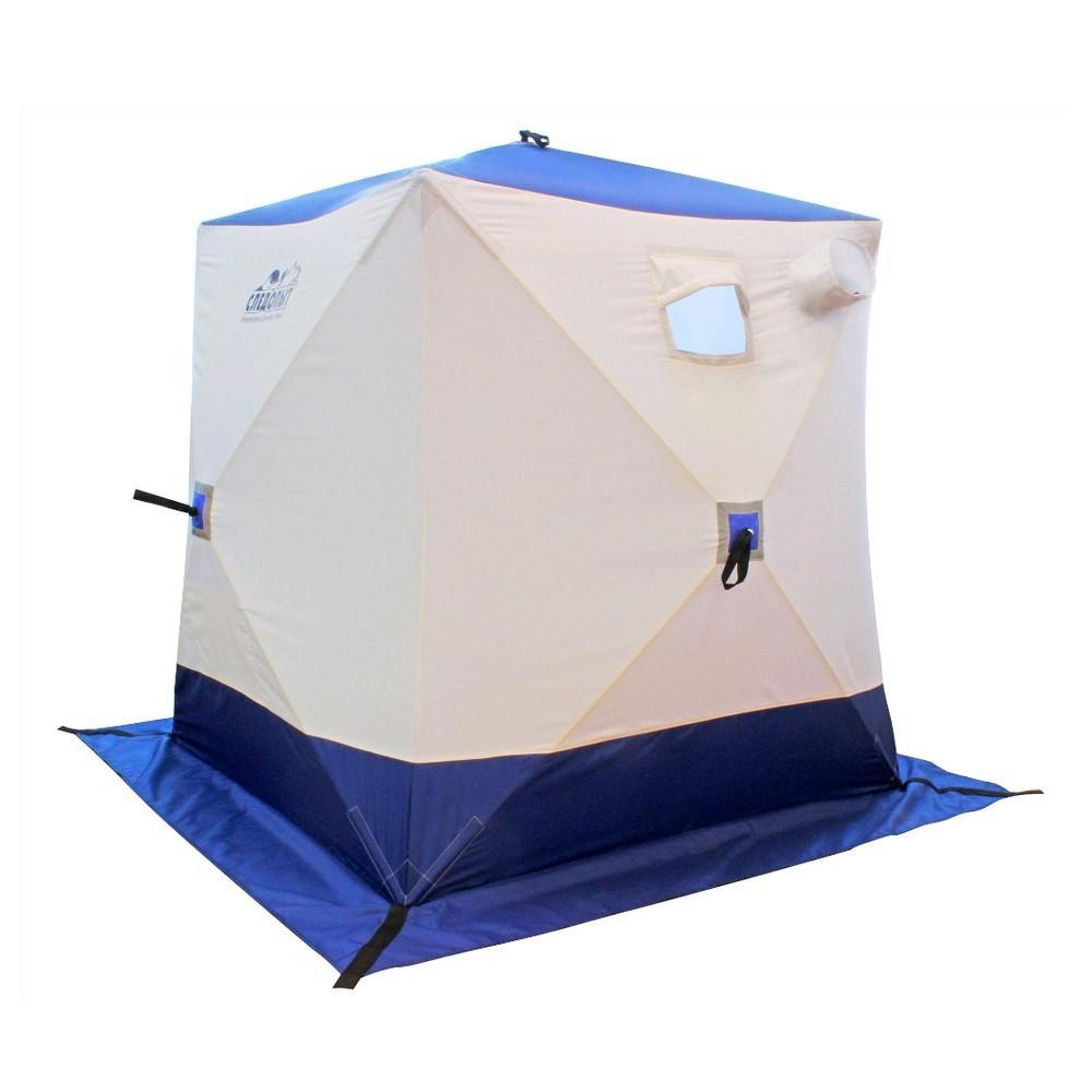 Палатка зимняя куб Следопыт 3-местная, бело-синяя