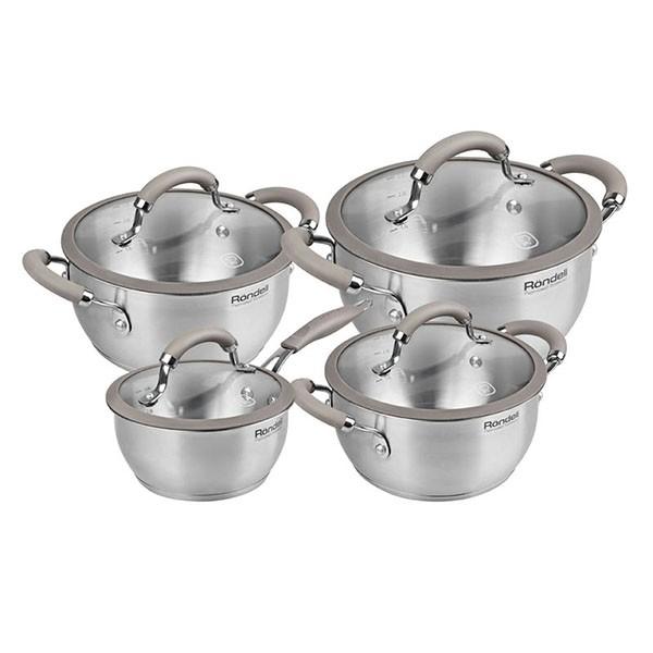 Набор посуды RONDELL 8 предм. Balance RDS-756Кастрюли<br>Набор посуды Rondell Balance RDS-756 привлекает внимание своей эргономичной формой и необычным миксом термостойкого стекла, высококачественной пищевой стали и силикона.<br>