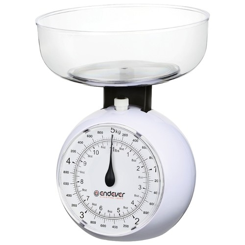 Кухонные механические весы Endever. Максимальный вес 5 кг, цена деления 40 г, белыеКухонные весы<br>Механические кухонные весы Endever подойдут для любой кухни. Они помогут взвесить любые продукты и ингредиенты. Кроме того, позволят людям, соблюдающим диету, контролировать количество съедаемой пищи и размеры порций. Удобная чаша позволяет взвешивать сыпучие продукты.<br>