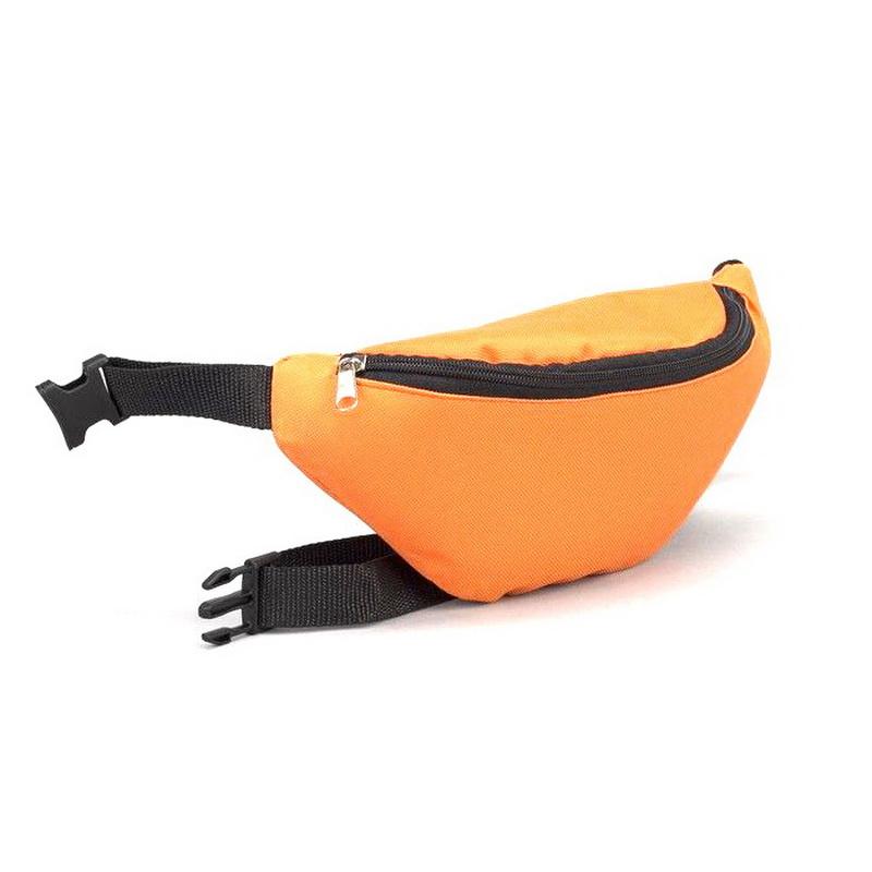 Сумка поясная, отдел на молнии, регулируемый ремень, оранжевый/чёрный