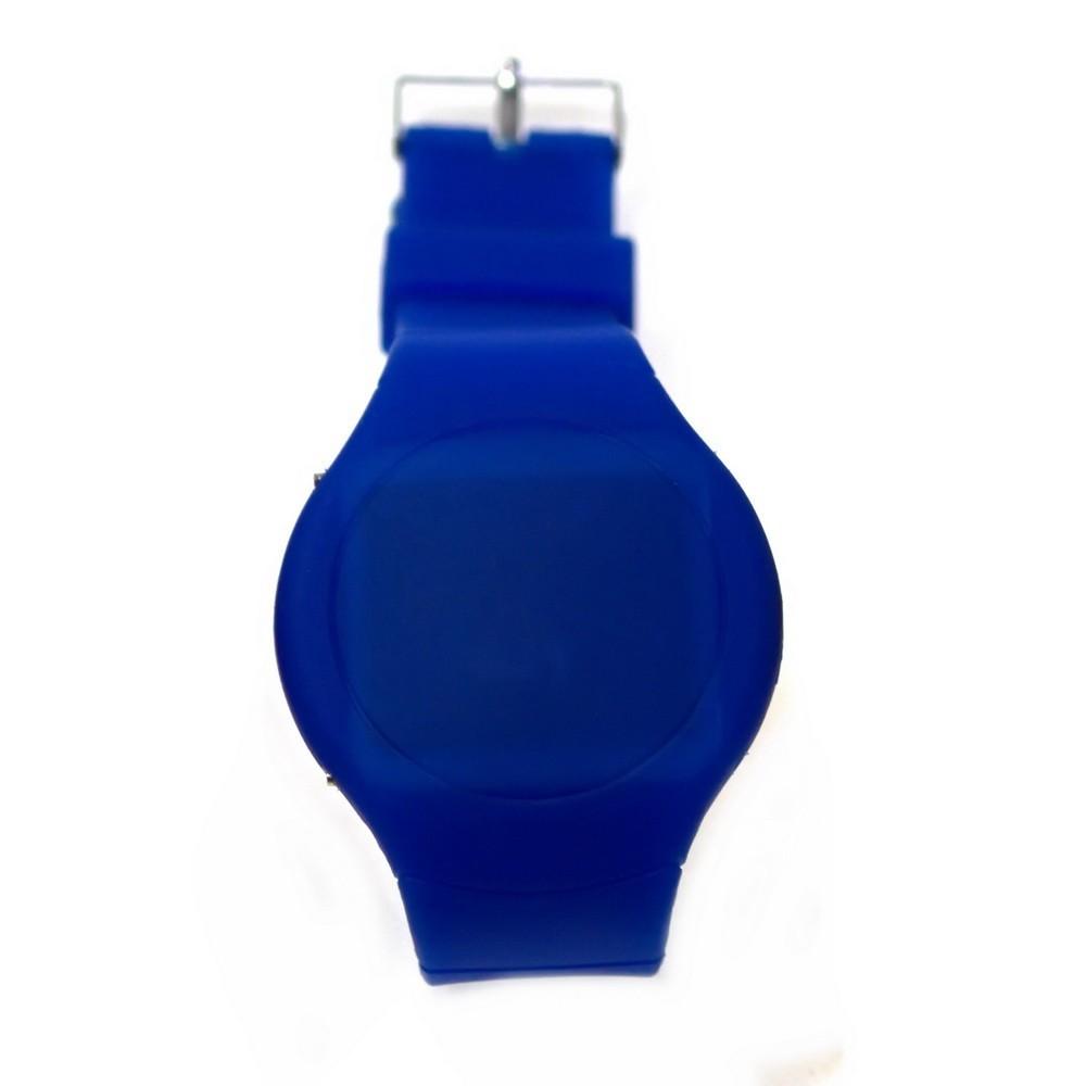 Ультратонкие силиконовые LED часы Nexer круглые, синии