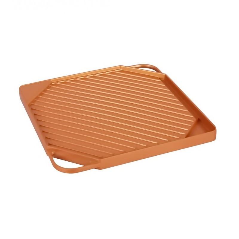 Квадратная сковорода-гриль с антипригарным керамическим покрытием, 27 см