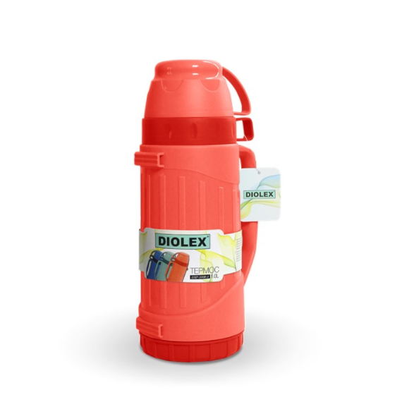 Термос Diolex пластиковый со стеклянной колбой 1800 мл, красный