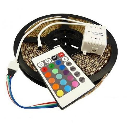 Светодиодная лента RGB с пультом - 5 метровНочники и настольные лампы<br>А вы знаете, что любая часть интерьера или любой предмет мебели может светить яркими разноцветными красками когда вы захотите? Революционная светодиодная лента RGB с пультом - 5 метров станет настоящим волшебством в вашем доме!<br>