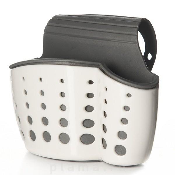 Подставка для щетки и губки на кранДля мытья посуды<br>Функциональная подставка для щетки и губки на кран из прочного пластика-ABS. Крепится кольцом у основания крана, путем надевания. Благодаря подставке ершик и губка всегда будут на своем месте. Нейтральная цветовая гамма для любой кухни.<br>