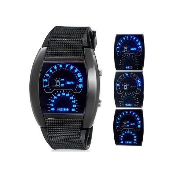Часы Спидометр светодиодные, новый дизайн, черныеСпортивные LED часы<br>Часы «Спидометр» в новом дизайне смотрятся еще роскошней и современней предшественника. Светодиодные часы в виде спидометра - это лучший подарок другу-автомобилисту, отцу или брату!<br>