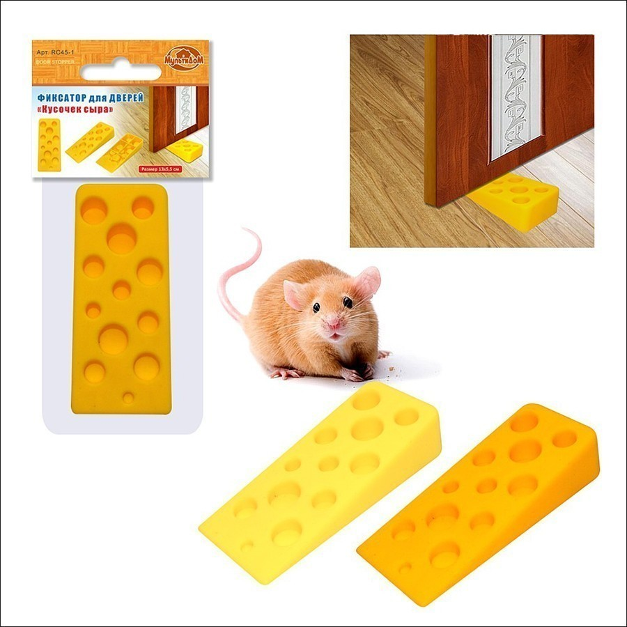 Фиксатор для дверей - Кусочек сыраОригинальный фиксатор для дверей в виде кусочка сыра из мягкого материала – поливинилхлорида. Симпатичный способ затормозить дверь в нужном положении. После использования приобретает прежнюю форму.<br>