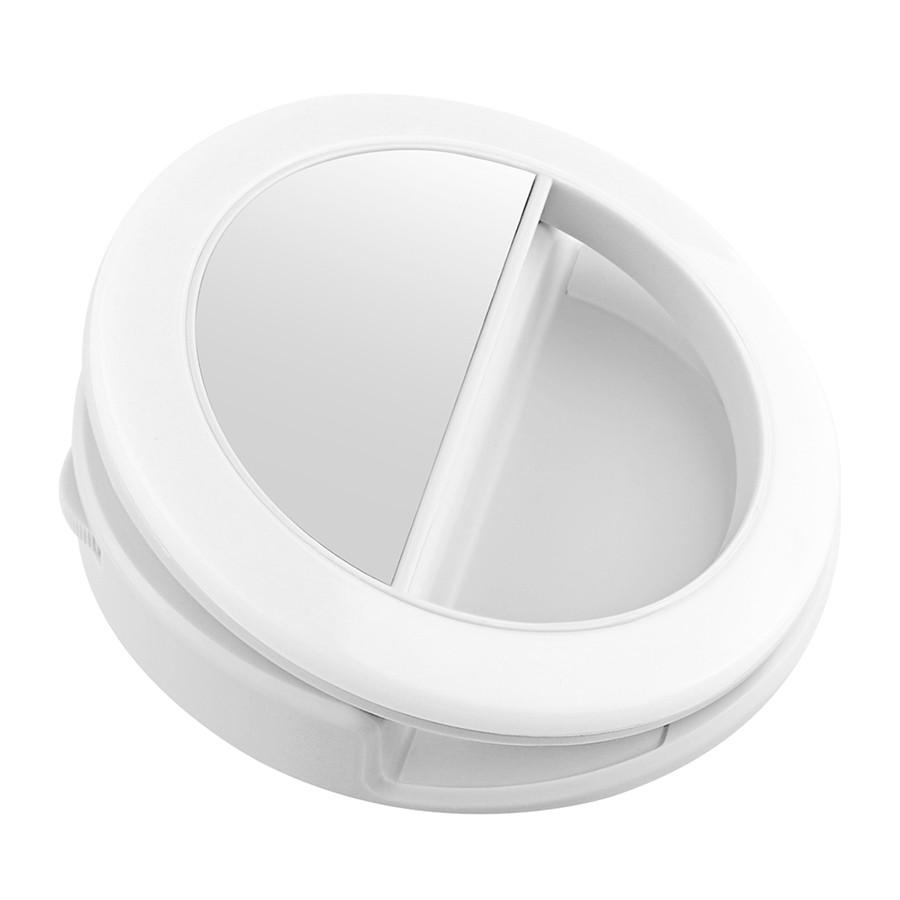 Кольцо для селфи Selfie Ring Light на батарейке, белоеВсе для селфи<br>Теперь вы сможете сделать качественное фото вне зависимости от места или времени суток, благодаря инновационному кольцу для селфи на батарейке Selfie Ring Light. Изделие подарит вам качественное освещение, являющееся аналогом профессионального кругового света на фотосессиях!<br>