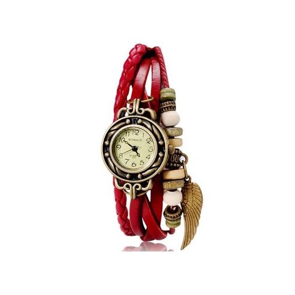WOMAGE 630 модные женские часы браслет, красныеЖенские часы<br>Женские часы-браслет WOMAGE 630 - это великолепное сочетание тонких полос кожи, плетенки и нежного бронзового перышка.<br>