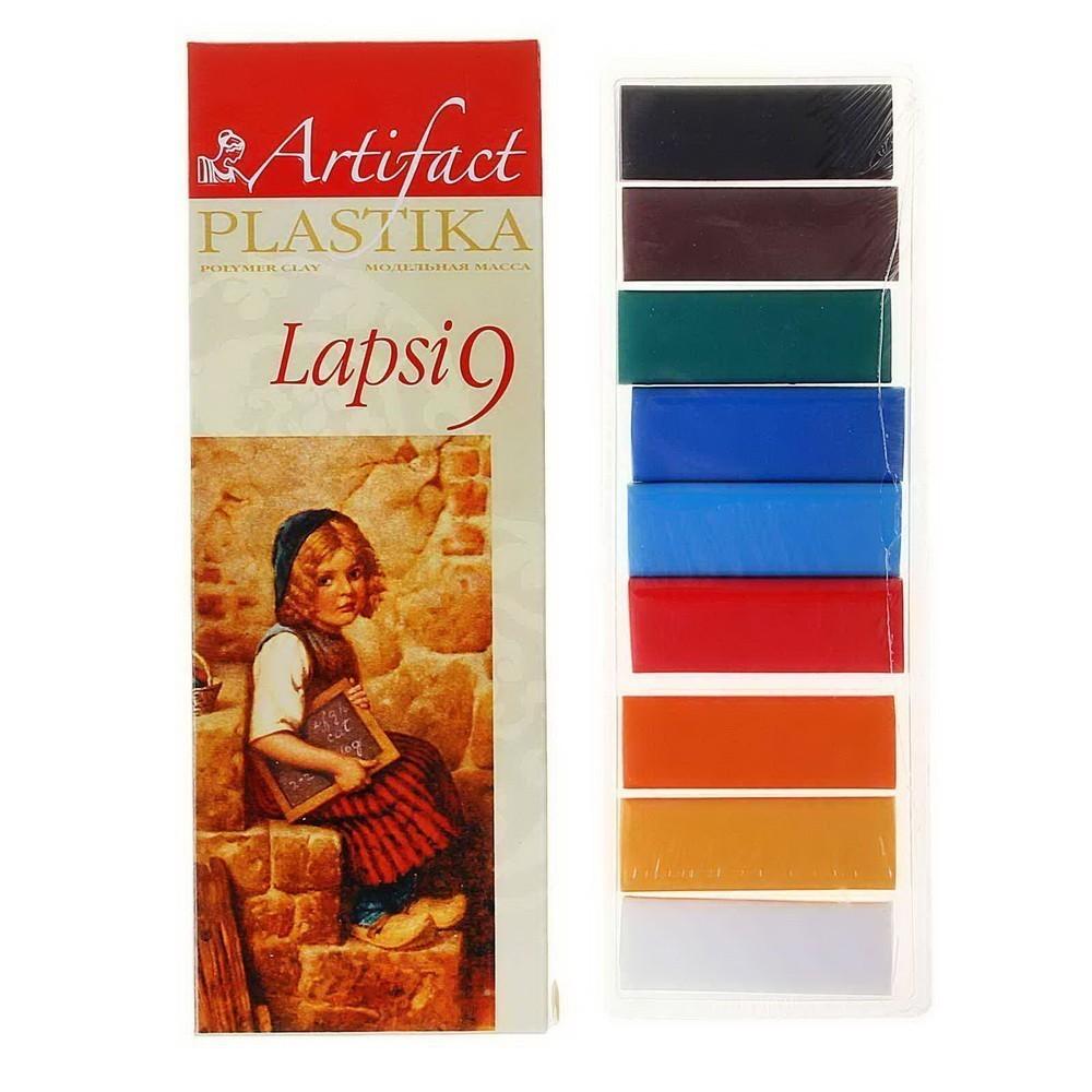 Пластика - полимерная глина набор LAPSI 9 классических цветов, 180г