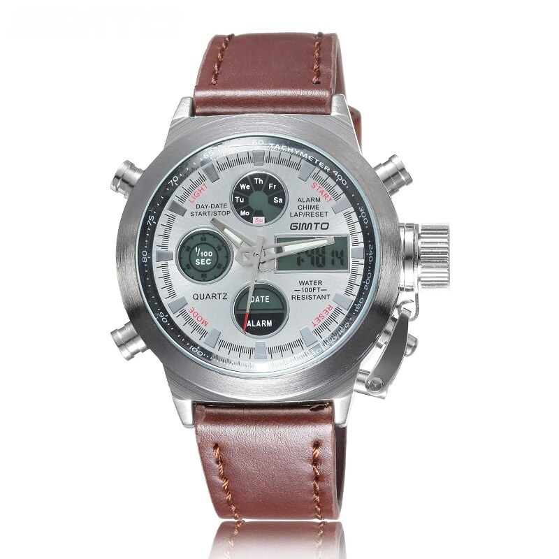 Часы Gimho, серебристый корпус, серый циферблат