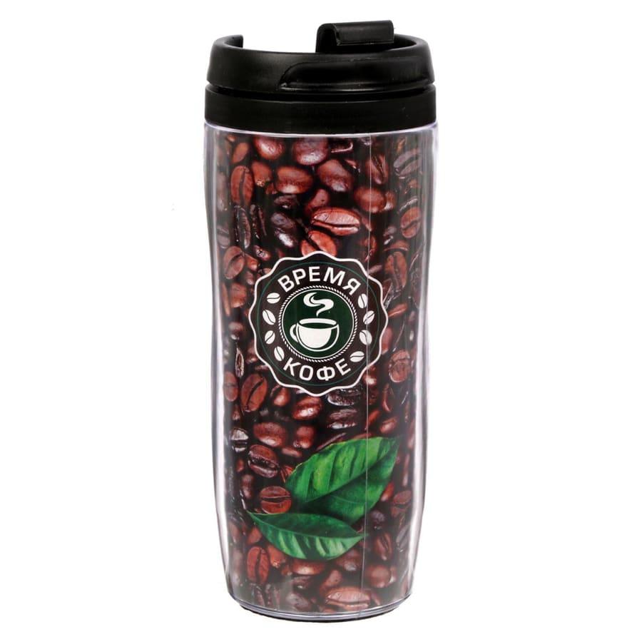 Термостакан - Кофейные зерна, 350 млТермокружки<br>Любите пить кофе не только дома? Тогда вы просто обязаны купить по смешной цене в интернет магазине Мелеон стильный и практичный термостакан «Кофейные зерна», 350 мл. Изделие подарит вам возможность наслаждаться любимыми горячими напитками в любых условиях!<br>