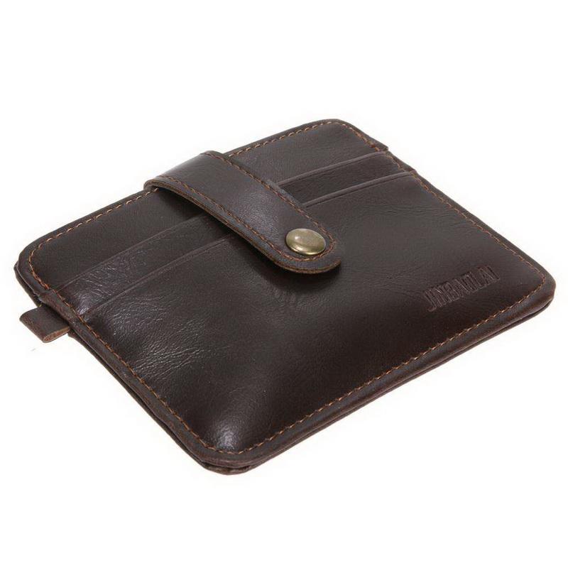 Тонкий кошелек на кнопке, экокожа - коричневый