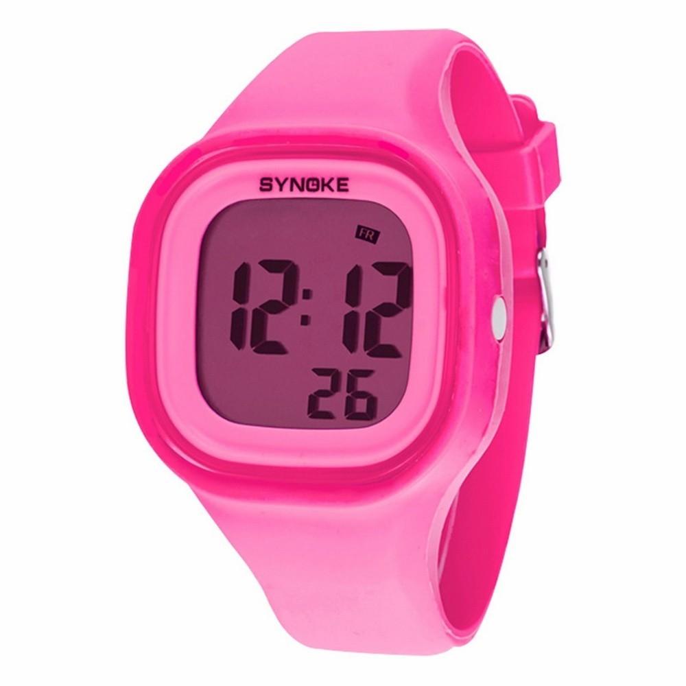 Силиконовые LED часы SHORS SH-689 розовые