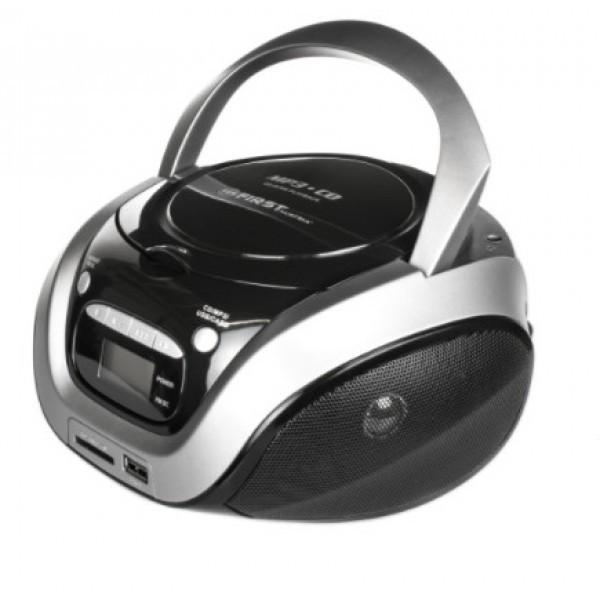 Магнитолы CD/USB FIRST 1154-3-GR greyBluetooth колонки и MP3 проигрыватели<br>Мощность: 2х1.2 Вт., стерео. CD-плеер, поддержка CD-R, CD-RW, MP3: есть. Воспроизведение с USB, MicroSD: есть. Функции программируемого, повторного, случайного проигрывания : есть<br>