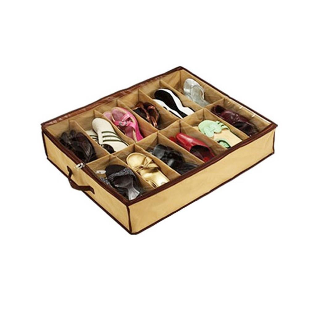 Сумка для хранения обуви на 12 парДля хранения обуви<br>Ваша кладовка превращается в склад обуви в коробках? А может вы не можете придумать, как грамотно расставить всю обувь в коридоре, когда она небрежно разбросана? Выход есть! Это – сумка-чехол для хранения обуви на 12 пар. Благодаря этому стильному и вместительному агрегату, проблема с хранением обуви быстро решится!<br>