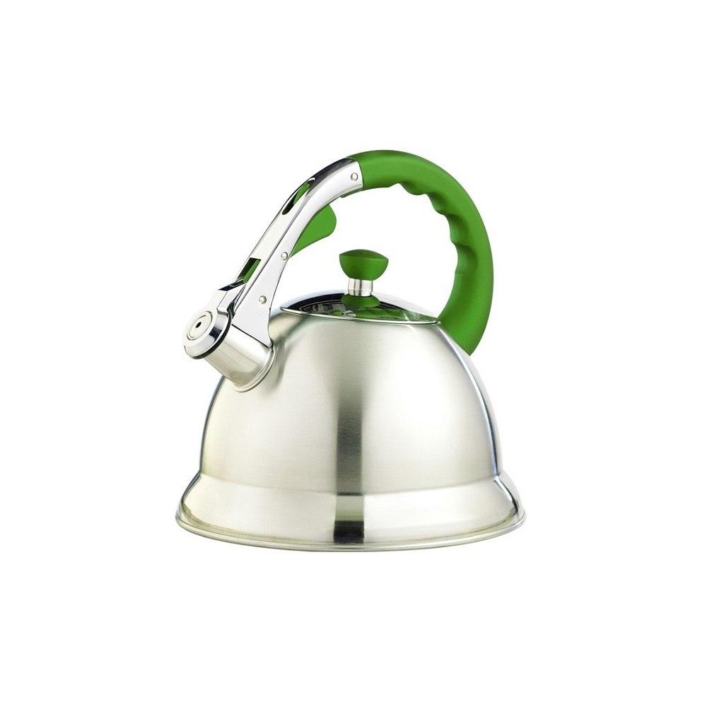 Чайник TECO (3,0 л.со свистком нерж.сталь стали c капсульным дном с иликоновой цветной руч) TC-106-G