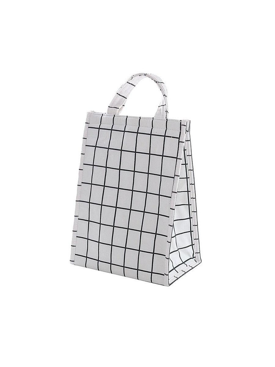 Термосумка-пакет для ланчбоксов, белая клетка