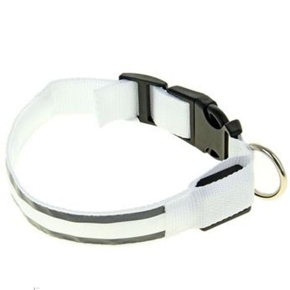 Светящийся ошейник со светоотражателем, 45-50 см, Белый фото