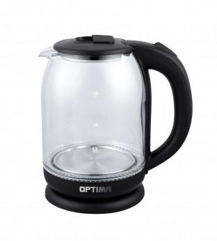 Чайник электрический OPTIMA EK-1804G (1,8л, 2200Вт.,пов. на 360 градусов, корп. из стекла)