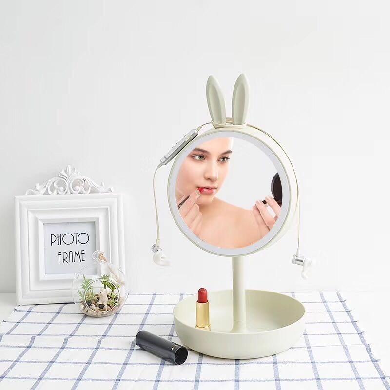 Зеркало для макияжа с подставкой для мелочей — Зайка моя, цвет микс