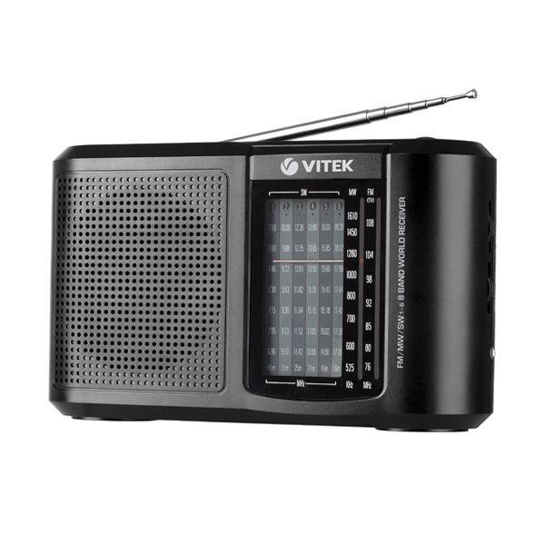Радиоприемник Vitek VT-3590 BKРадиоприемники<br>Вы будете в курсе всех событий в мире, вы сможете слушать любимые мелодии, вы быстро настроитесь на любимую радиоволну с радиоприемником VT-3590 BK. Небольшой настольный радиоприемник порадует вас простым управлением. Ведь, чтобы найти нужную радиоволну в том или ином диапазоне частот, вам достаточно воспользоваться поворотными переключателями, расположенными на торце корпуса радиоприемника. При помощи телескопической антенны вы сможете настроить чистоту радиовещания.<br>