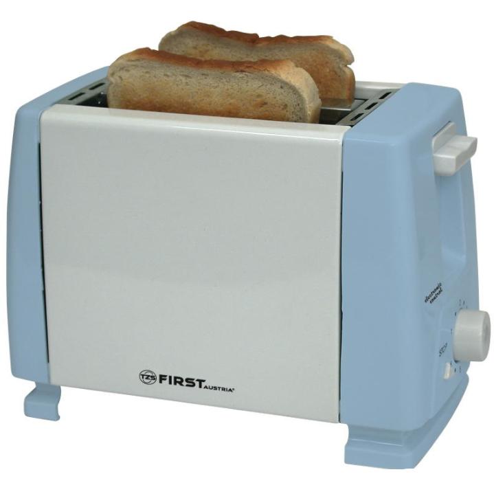 Тостер FIRST, 750 Вт, 2 тоста, рег.поджаривания, голубой