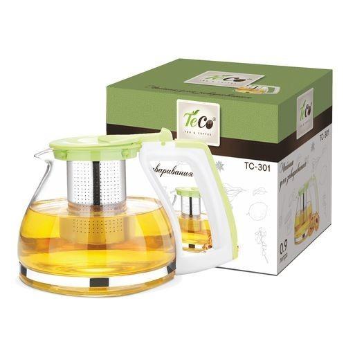 Чайник для заваривания TC -301Чайники заварочные и френч-прессы<br>Чайник для заваривания 900 мл из стекла и пластика c ситом и крышкой<br>