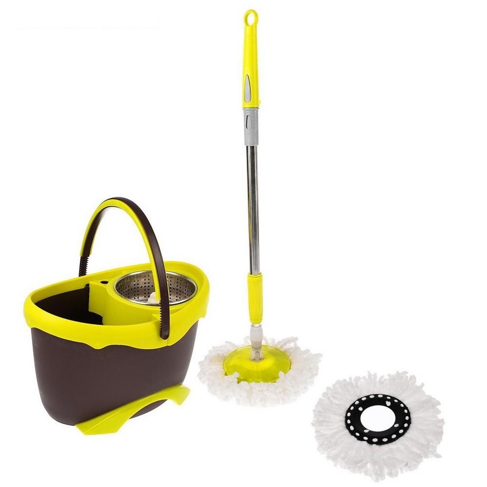 Набор для уборки: швабра, ведро с педальным отжимом, металлическая центрифуга, дополнительная насадка