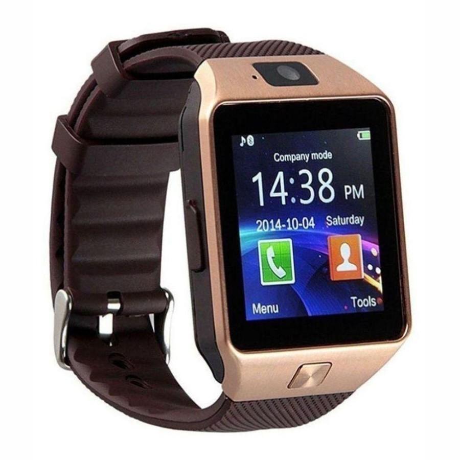 Умные часы Smart Watch DZ09, Золото, Коричневый ремешок фото