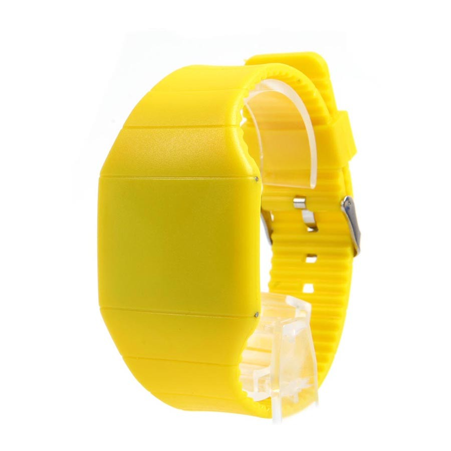 Ультратонкие силиконовые LED часы Nexer G1206, Квадратные, Желтый